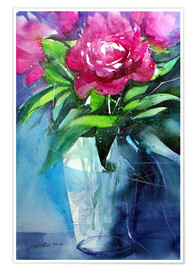 Poster Premium Red peonies in vase