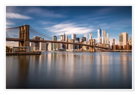 Poster Premium New York City - Brooklyn Bridge and Skyline