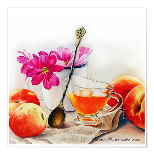 Poster Premium Peaches and flowers watercolor painting