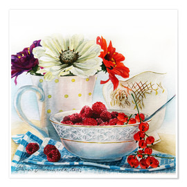 Poster Premium Flowers and berries watercolor painting
