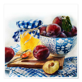 Poster Premium Plum jam watercolor painting