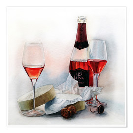 Poster Premium Wine and cheese watercolor painting
