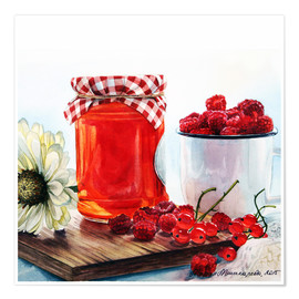 Poster Premium Raspberry jam watercolor painting
