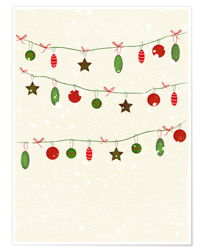 Poster Premium happy holidays baubles