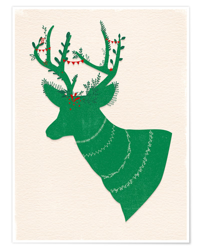 Poster Premium Green Stag