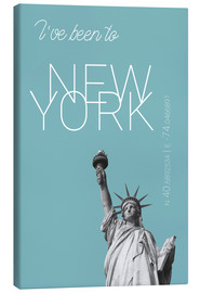 Stampa su tela  Popart New York Statue of Liberty I have been to Color: Light blue - campus graphics