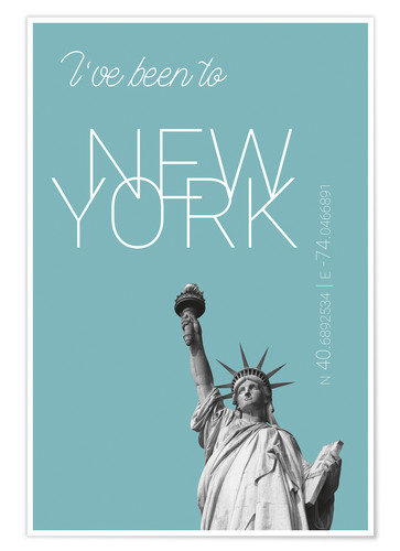 Poster Premium Popart New York Statue of Liberty I have been to Color: Light blue