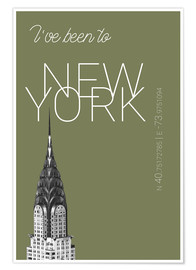 Poster Premium Popart New York Chrysler Building I have been to Color: calliste green
