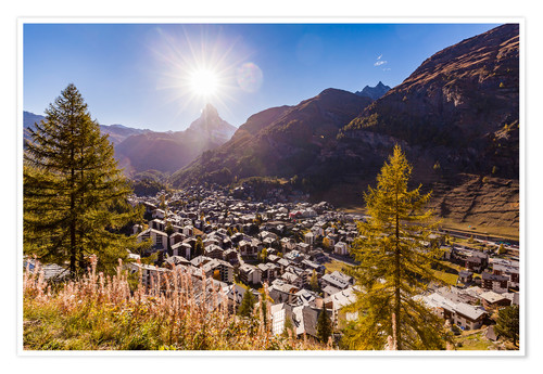 Poster Premium Zermatt in the Valais
