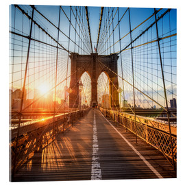 Stampa su vetro acrilico  Brooklyn Bridge in New York City - Jan Christopher Becke