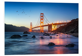 Stampa su schiuma dura  Golden Gate Bridge at sunset in San Francisco, USA - Jan Christopher Becke