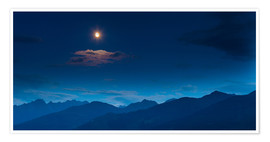 Poster Premium Moon over mountains