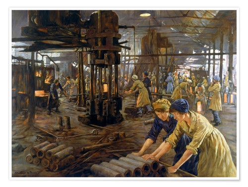 Poster Premium 'The Munitions Girls' oil painting, England, 1918 Wellcome L0059548
