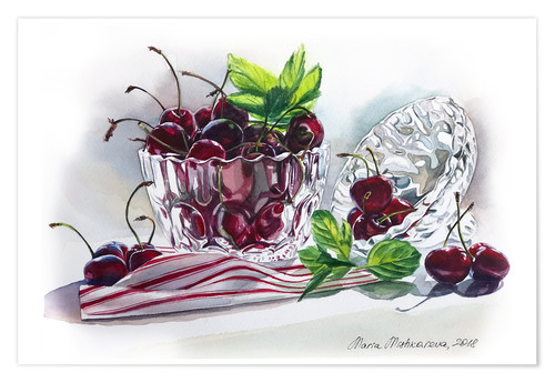 Poster Premium Watercolor Cherry bowl
