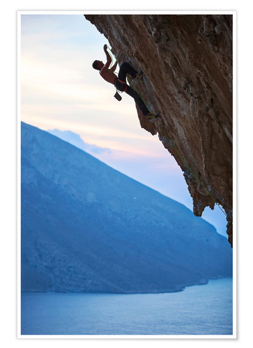 Poster Premium Climber in the sunset
