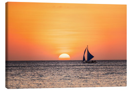 Stampa su tela  Sailboat in the sunset