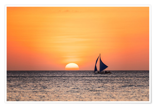 Poster Premium Sailboat in the sunset