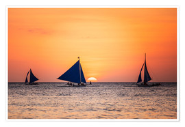 Poster Premium Sailboats in the sunset