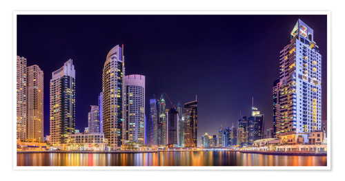 Poster Premium Panoramic view - Dubai Marina Bay