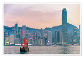 Poster Premium Skyline of Victoria Harbor, in Hong Kong