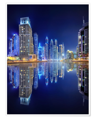 Poster Premium Dark blue night - Dubai Marina bay