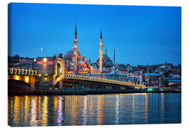 Stampa su tela  Galata Bridge at night in Istanbul