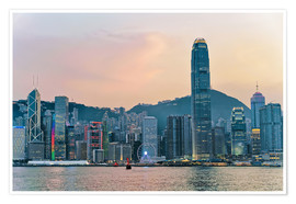 Poster Premium Skyline of Victoria Harbor, Hong Kong