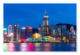 Poster Premium Hong Kong famous night view
