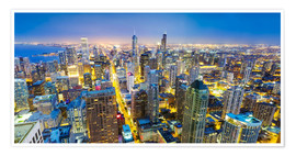 Poster  Night view of Chicago