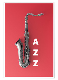 Poster Premium Saxophone on color
