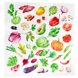 Stampa su vetro acrilico  Fruits and vegetables watercolor