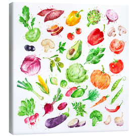 Stampa su tela  Fruits and vegetables watercolor