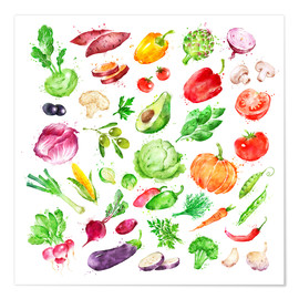 Poster Premium Fruits and vegetables watercolor