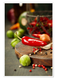 Poster Premium Chilli pepper and cooking ingredients
