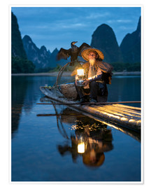 Poster Premium Old cormorant fisherman in Guilin, China