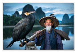 Poster Premium Chinese fisherman with cormorant in Guilin, China