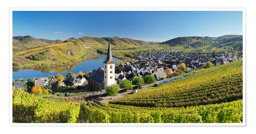 Poster Premium Mosel River Bend in autumn, Bremm