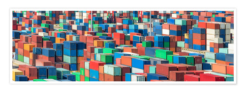 Poster Premium Industrial shot of a container terminal with colorful ISO containers