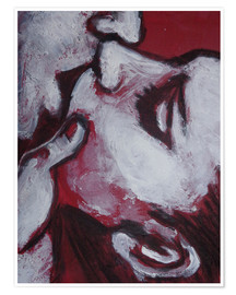 Poster Premium Lovers - Kiss In Red