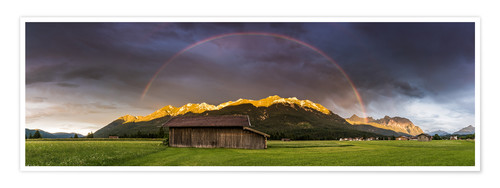 Poster Premium Rainbow and alpenglow in the Karwendel