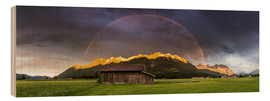 Stampa su legno  Rainbow and alpenglow in the Karwendel - Martin Wasilewski