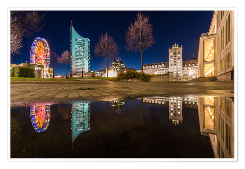 Poster Premium Augustusplatz in Leipzig in the mirror