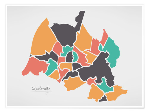 Poster Premium Karlsruhe city map modern abstract with round shapes