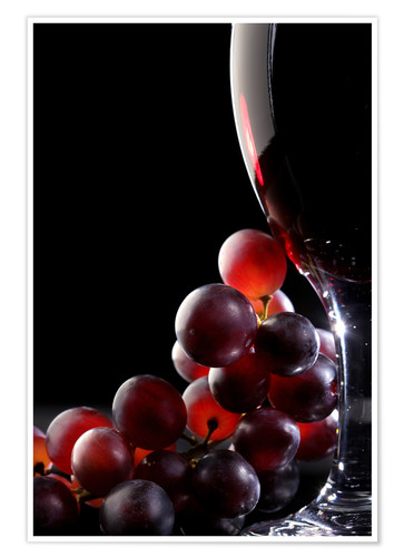 Poster Premium Red grapes and glass of wine