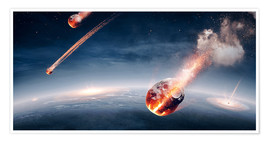 Poster Premium Meteorites on their way to earth