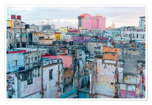 Poster Premium Authentic view of a street of Old Havana