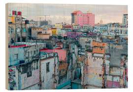 Stampa su legno  Authentic view of a street of Old Havana