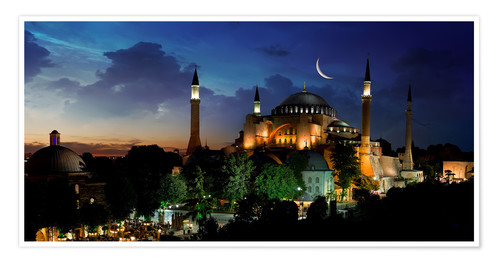 Poster Premium View of Hagia Sophia after sunset
