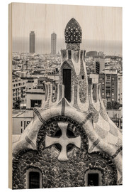 Stampa su legno  Impressive architecture and mosaic art at Park Guell