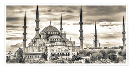 Poster Premium Blue mosque in sepia